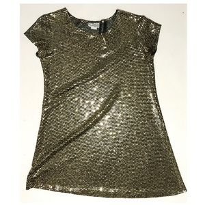Vintage Gold Sequin Shimmer Short Sleeve T Shirt M